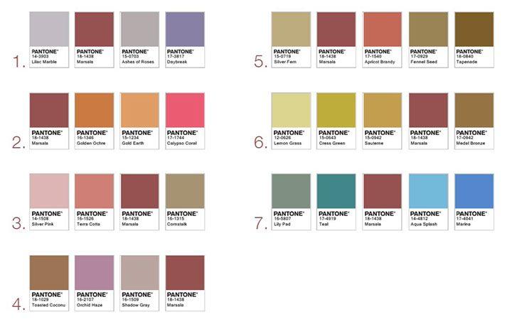 Paleta de culori care se asorteaza cu marsala