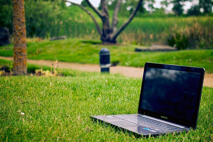 laptop pe iarba