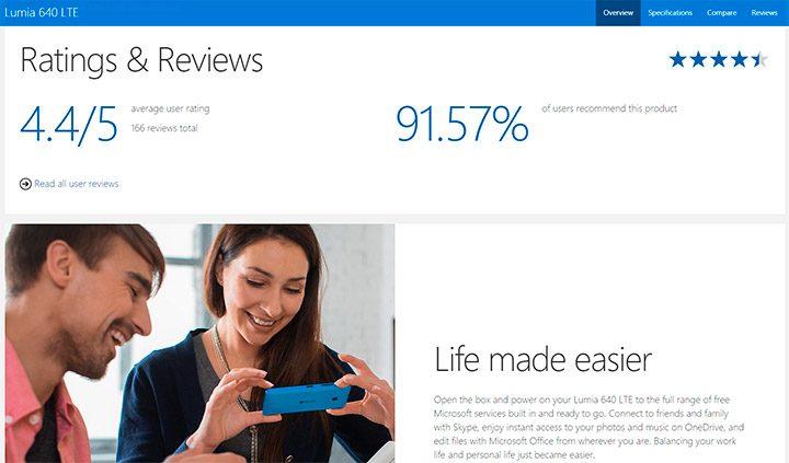 Reviewuri si rating pe siteul producatorului
