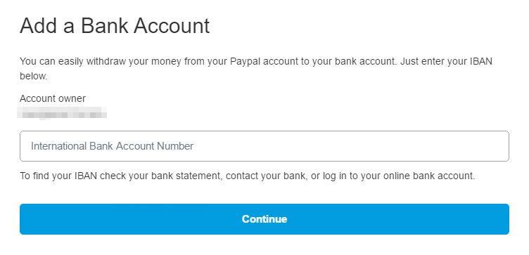 PayPal - adaugare cont bancar IBN de catre persoane juridice