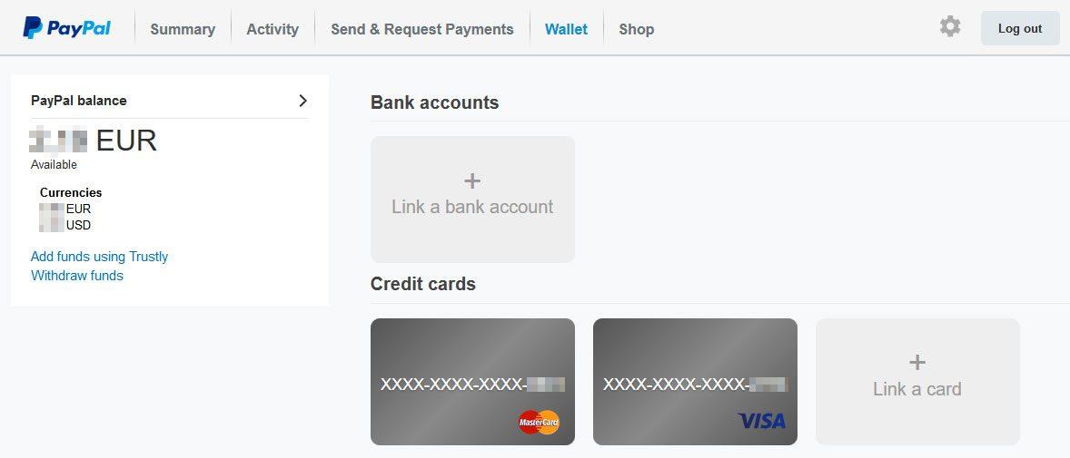 PayPal - pagina de conturi si carduri adaugate in cont