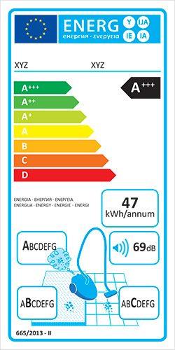 eticheta UE clasa eficienta energetica aspiratoare de uz general
