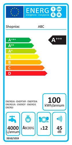 eticheta UE clasa eficienta energetica masina de spalat vase