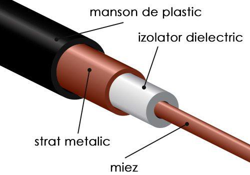 sectiunea unui cablu ecranat