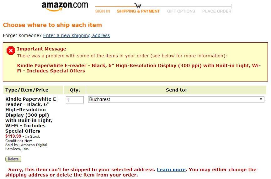 amazon produs ce nu poate fi livrat in Romania checkout