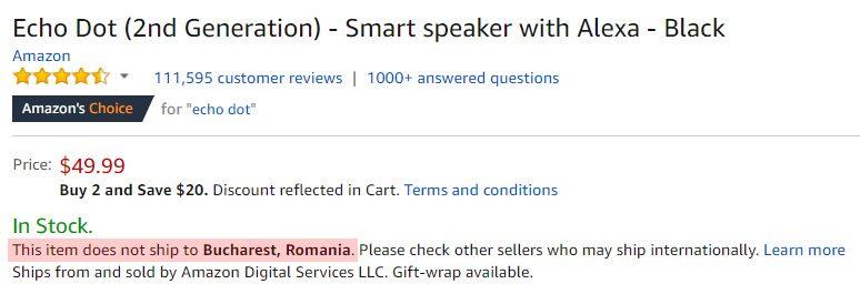 amazon produs ce nu poate fi livrat in Romania