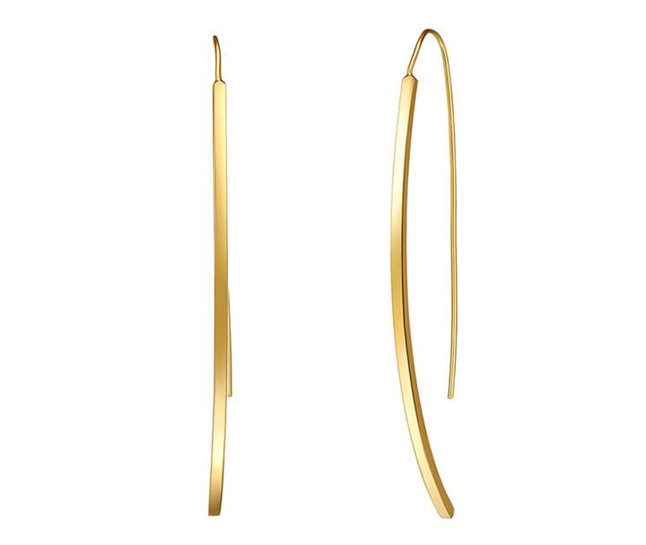 cercei placati cu aur model minimalist