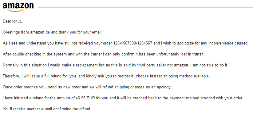 raspuns customer support amazon