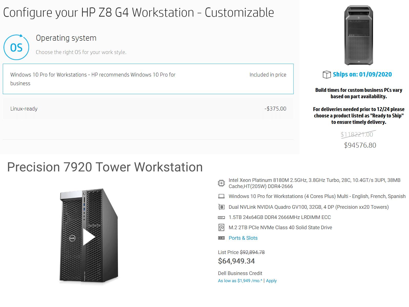 configuratii workstation hp dell