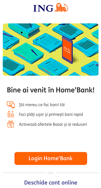 ing homebank primul ecran aplicatie